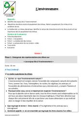 Environnement - Fiche de préparation : 4eme, 5eme Primaire