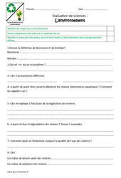 Environnement - Examen Evaluation : 4eme, 5eme Primaire