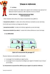 Vitesse et référentiel - Exercices à imprimer : 4eme, 5eme Primaire