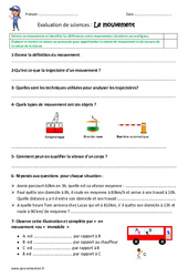 Mouvement - Examen Evaluation : 4eme, 5eme Primaire