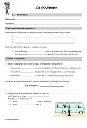 Mouvement - Cours, Leçon : 4eme, 5eme Primaire