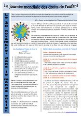 Journée mondiale des droits de l'enfant - Ressources pédagogiques - Instruction civique : 3eme, 4eme, 5eme Primaire