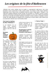 Halloween- Fiches Les origines - Lecture compréhension : 3eme, 4eme, 5eme Primaire