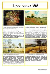 Eté - Les saisons - Lecture d'une oeuvre artistique - Histoire de l'art : 3eme, 4eme, 5eme Primaire