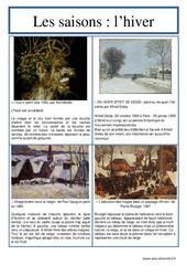 Hiver - Les saisons - Lecture d'une oeuvre artistique - Histoire de l'art : 3eme, 4eme, 5eme Primaire