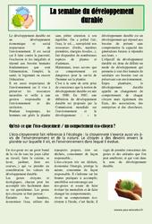 Semaine du développement durable - Lecture compréhension - Sciences : 3eme, 4eme, 5eme Primaire