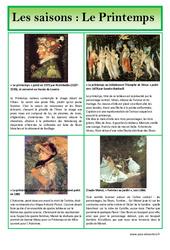 Printemps - Les saisons - Lecture d'une oeuvre artistique - Histoire de l'art : Primaire - Cycle Fondamental