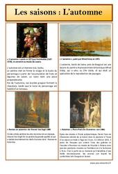 Automne - Les saisons - Lecture d'une oeuvre artistique - Histoire de l'art : Primaire - Cycle Fondamental