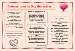 Fête des mères - Poèmes - Vie de la classe : Primaire - Cycle Fondamental