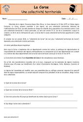 Corse - Je découvre ma région : 4eme, 5eme Primaire