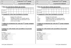 1er ème groupe - Présent - Exercices Corrigés : 3eme Primaire