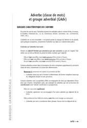 Adverbes - Cours - Exercices corrigés - Grammaire - Soutien scolaire : 6eme Primaire