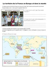 Le territoire français en Europe et dans le monde - Exercices- Fiches Documents, questions et correction : 4eme, 5eme Primaire