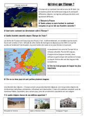Qu'est - ce que l'Europe? - Exercices   Document, questions et correction : 4eme, 5eme Primaire