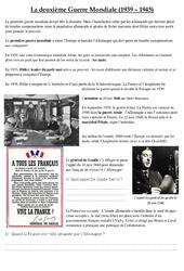 La deuxième Guerre Mondiale (1939 - 1945) - Texte documentaire : 5eme Primaire