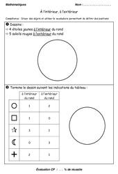 Intérieur et extérieur - Examen Evaluation - Espace - Mathématiques : 1ere Primaire