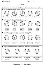 Heures - Demi - heures - Examen Evaluation : 1ere Primaire