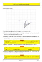 Symétrie centrale - Cours - Exercices - Géométrie - Mathématiques : 1ere Secondaire
