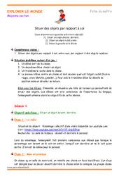 Situer des objets par rapport à soi - Fiche de préparation : 2eme Maternelle - Cycle Fondamental
