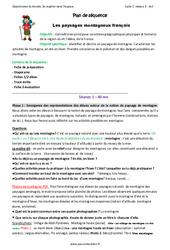 Paysages montagneux français - Fiche de préparation : 3eme Primaire