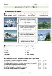 Paysages montagneux français - Exercices avec les corrections : 3eme Primaire