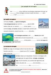 Paysages montagneux français - Cours, Leçon : 3eme Primaire