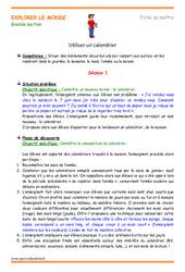 Utiliser un calendrier - Fiche de préparation - Séquence : 3eme Maternelle - Cycle Fondamental