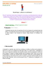 Utiliser un ordinateur - Fiche de prep : 3eme Maternelle - Cycle Fondamental