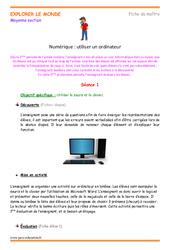 Utiliser un ordinateur - Fiche de préparation - Séquence : 2eme Maternelle - Cycle Fondamental