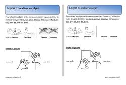 Localiser un objet - Cours, Leçon - Espace : 1ere Primaire
