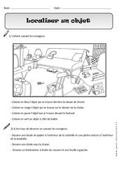 Localiser un objet - Exercices - Espace : 1ere Primaire