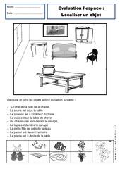 Localiser un objet - Examen Evaluation - Espace : 1ere Primaire