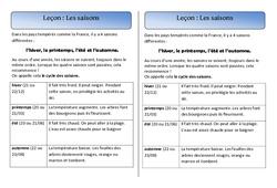 Saisons - Trace écrite - Espace - Cours, Leçon : 1ere Primaire