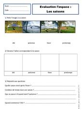 Saisons - Examen Evaluation - Espace : 1ere Primaire
