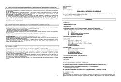 Règlement Intérieur - Directeurs / Direction d'école : Primaire - Cycle Fondamental