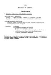 Préparation de réunion de parents - Réunions - Directeurs / Direction d'école : Primaire - Cycle Fondamental