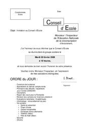 Invitation de l'IEN au Conseil d'École - Directeurs / Direction d'école : Primaire - Cycle Fondamental