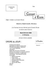 Invitation au Conseil d'École - Directeurs / Direction d'école : Primaire - Cycle Fondamental