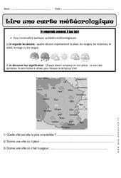 Lire une carte météorologique - Exercices : 1ere Primaire