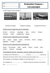 Paysages - Examen Evaluation - Espace : 1ere Primaire