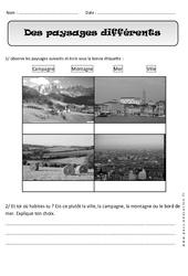 Paysages différents - Exercices - Espace : 1ere Primaire