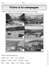 Vivre à la campagne - Exercices paysages - Espace : 1ere Primaire