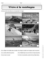 Vivre à la montagne - Exercices paysages - Espace : 1ere Primaire