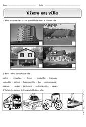 Vivre en ville - Paysages urbains - Exercices - Espace : 1ere Primaire