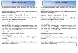 Journée - Trace écrite - Temps - Cours, Leçon : 1ere Primaire