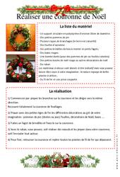 Comment réaliser une couronne de Noël - Arts Plastiques - Vie de la classe : 3eme, 4eme, 5eme Primaire