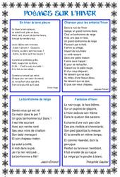Poèmes sur l'hiver - Vie de la classe : Primaire - Cycle Fondamental