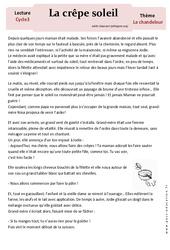 Crêpe soleil - Lecture compréhension - Récit - Chandeleur : 3eme, 4eme, 5eme Primaire