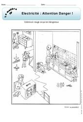 Electricité - Attention danger - Exercices - Matière - Découverte du monde : 1ere Primaire