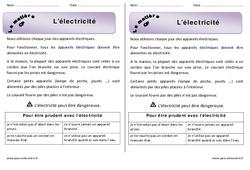 Electricité - Cours, Leçon : 1ere Primaire